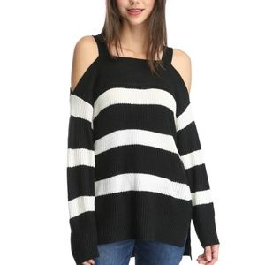 Sanctuary Amelie cold shoulder striped sweater